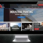 Illustration of a paint contractor website showing an deep project portfolio