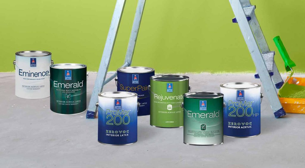 lineup of sherwin williams high-performance coatings, including zero VOC, Emerald, Pro Industrial, ProMar 200, SuperPaint, and Rejuvenate