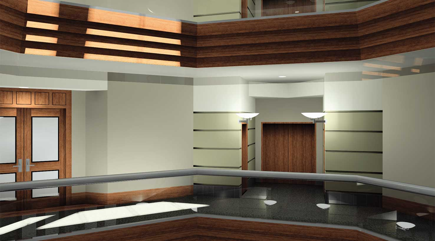 architectural rendering of a LEED certified commercial office interior