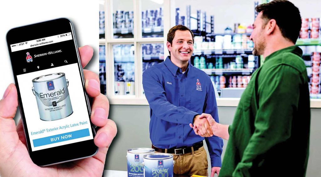 Buy Online action on smart phone paired with contractor picking up supplies in-store