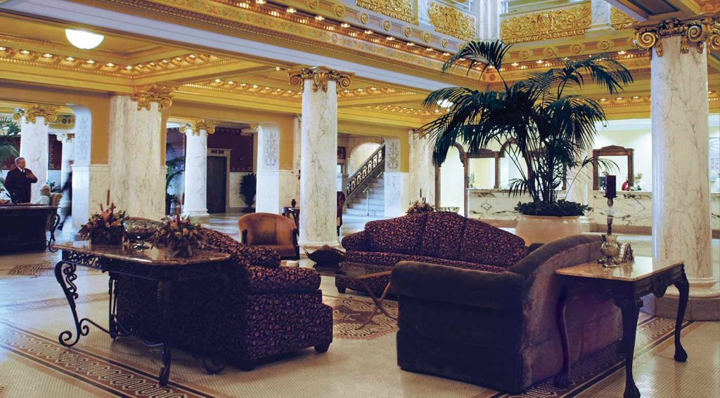 The ornate lobby of French Lick Springs Hotel in Indiana